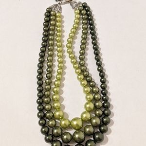 Faux Green Pearl Necklace